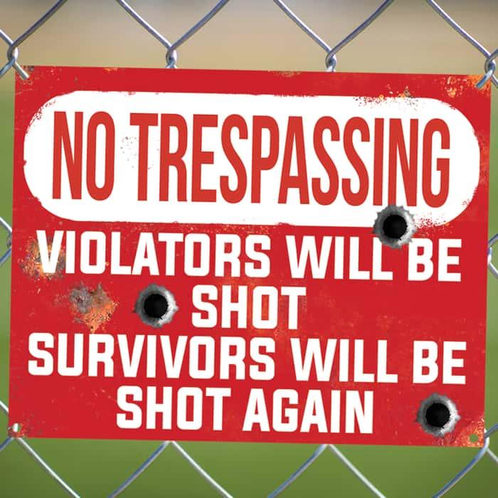 "No Trespassing Violators Will Be Shot Tin Sign - Vibrant Artwork, Corrosion Resistant, Fade Resistant, Mounting Holes - Dimensions 16""x 12 1/2"""