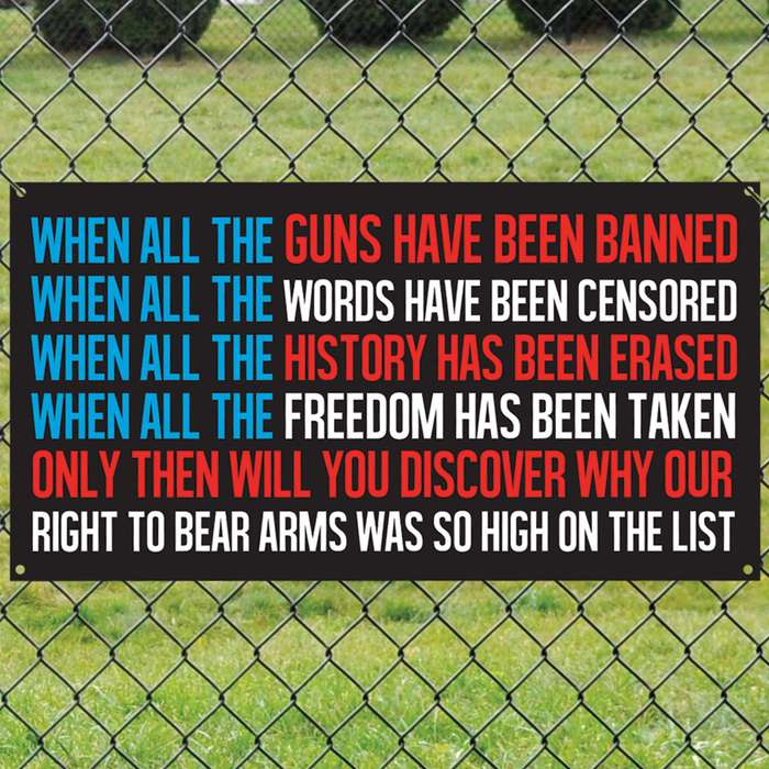 """When All Guns Have Been Banned Tin Sign - Vibrant Artwork, Corrosion Resistant, Mounting Holes - Dimensions 16""""x 8 1/2"""""""