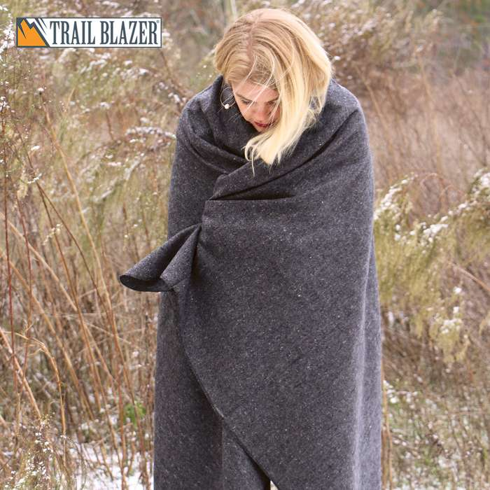 "Trailblazer Wool Blanket - Gray -51"" x 80"" - 2 Pounds - Heavy and Warm"