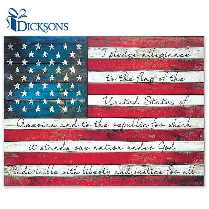 Pledge Of Allegiance On Weathered American Flag Free