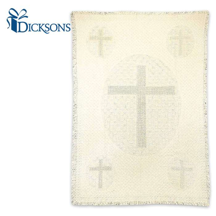 Antiqued Cross Tapestry - 100 Percent Cotton - Fringed Edges