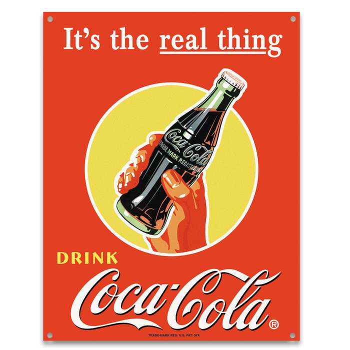 Coke It's The Real Thing Tin Sign - Vibrant Artwork, Corrosion Resistant, Fade Resistant, Rolled Edges, Mounting Holes
