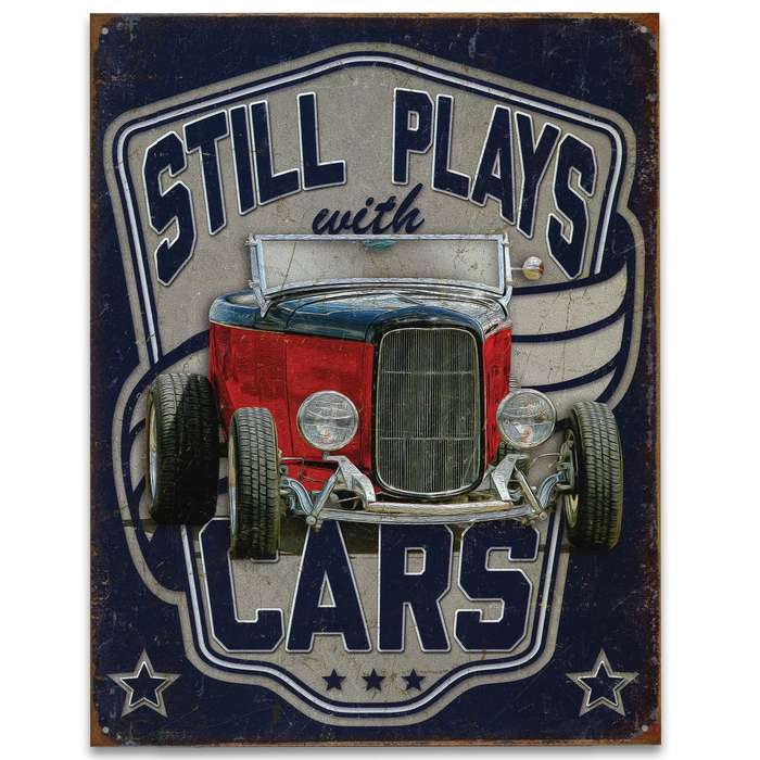 "Vintage Style Tin Sign - Still Plays with Cars -  Antique Red Car Automobile Convertible - Blue Background - Metal Construction, Vibrant Color - Indoor / Outdoor - 12 1/2"" x 16"""