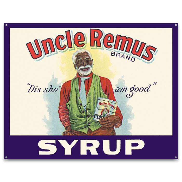 Uncle Remus Syrup Vintage Ad Tin Sign - Vibrant Artwork, Corrosion Resistant, Fade Resistant, Rolled Edges, Mounting Holes