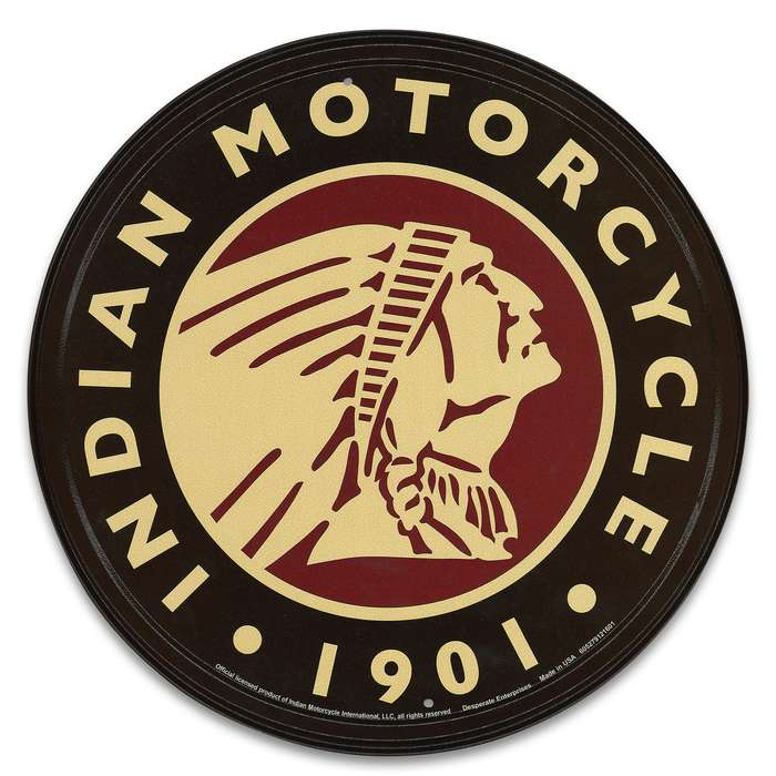 "Vintage Style Tin Sign - 1901 Indian Motorcycle Logo - Antique Replica Placard - Man Cave, Garage, Biker Club, Shop, Home, Office Decor - Indoor / Outdoor - 11 3/4"" Diameter"
