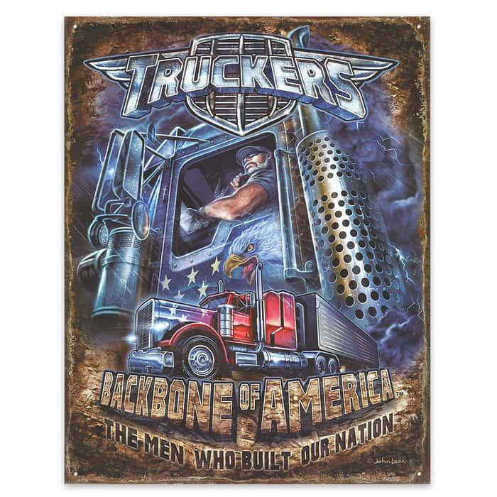 """Truckers - Backbone of America"" 12 1/2"" x 16"" Tin Sign"