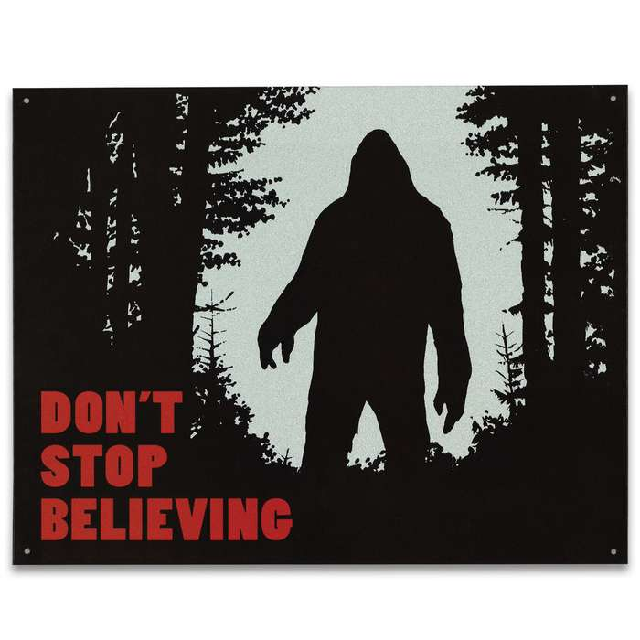 "Vintage Style Tin Sign - Don't Stop Believing, Bigfoot Sasquatch Ape Man Cryptid Cryptozoology - Antiqued Weathered - Garage, Man Cave, Bar, Restaurant, Home, Office Decor - 16"" x 12 1/2"""