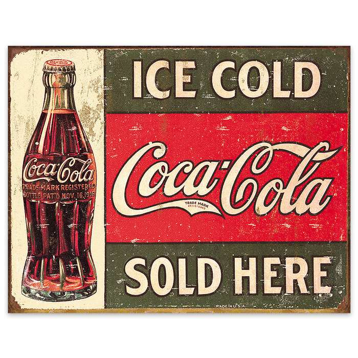 Coca-Cola Sold Here Tin Sign