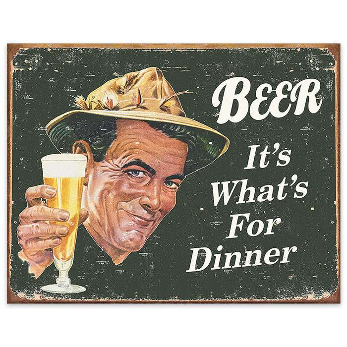 Beer: It's What's For Dinner Vintage-Style Weathered Tin Sign
