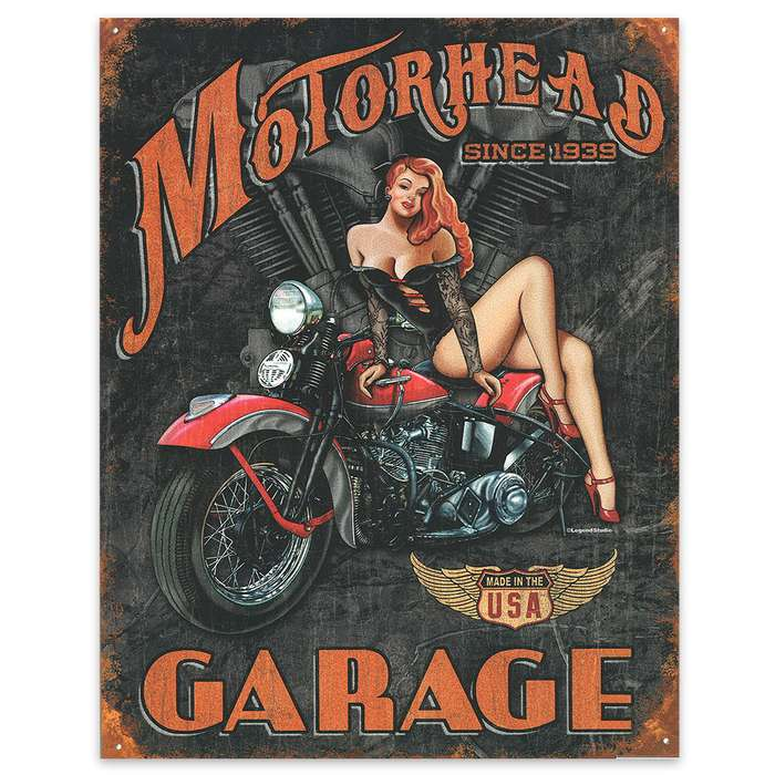 "Motorhead Garage 12 1/2"" x 16"" Rustic Tin Sign"