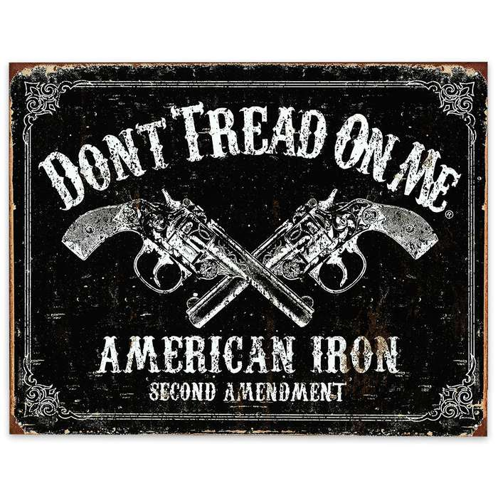 American Iron / Second Amendment / Don't Tread on Me - Rustic Weathered Tin Sign