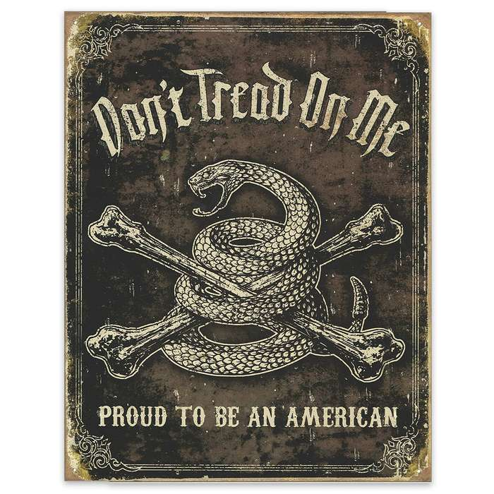 """Don't Tread on Me"" 12 1/2"" x 16"" Rustic Tin Sign"