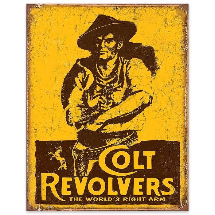 Colt Revolvers Vintage Advertisment on Rustic Tin Sign