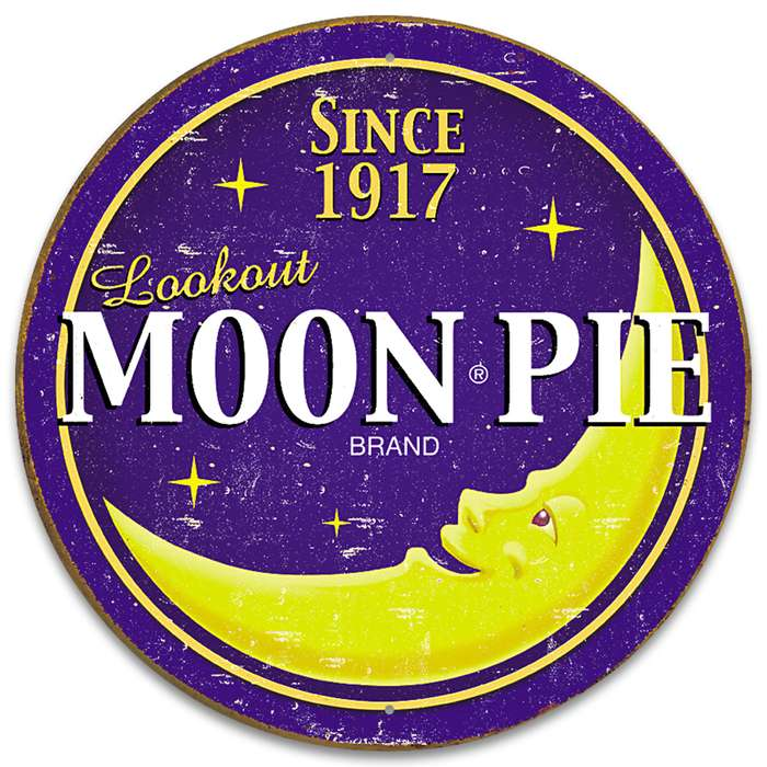 Moon Pie Round Tin Sign - Vibrant Artwork, Corrosion Resistant, Fade Resistant, Rolled Edges, Mounting Holes - Diameter 11 3/4""