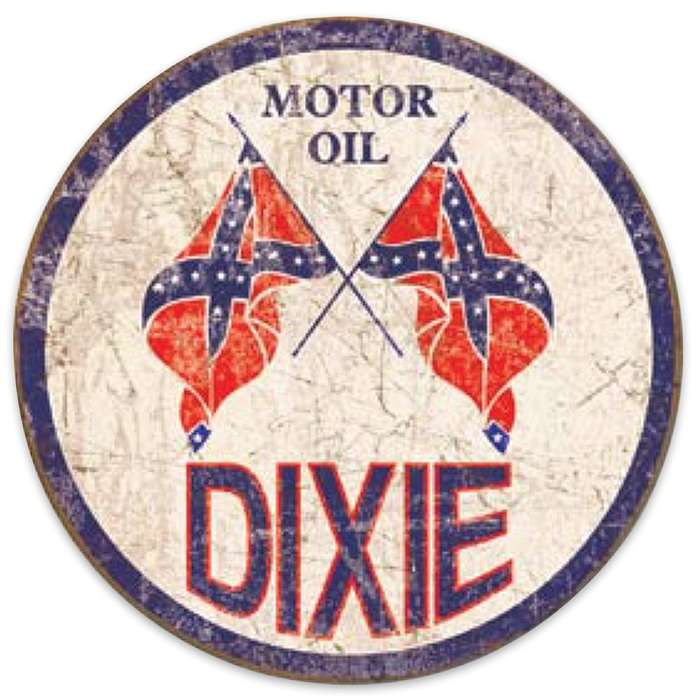 Dixie Motor Oil Weathered Round Tin Sign