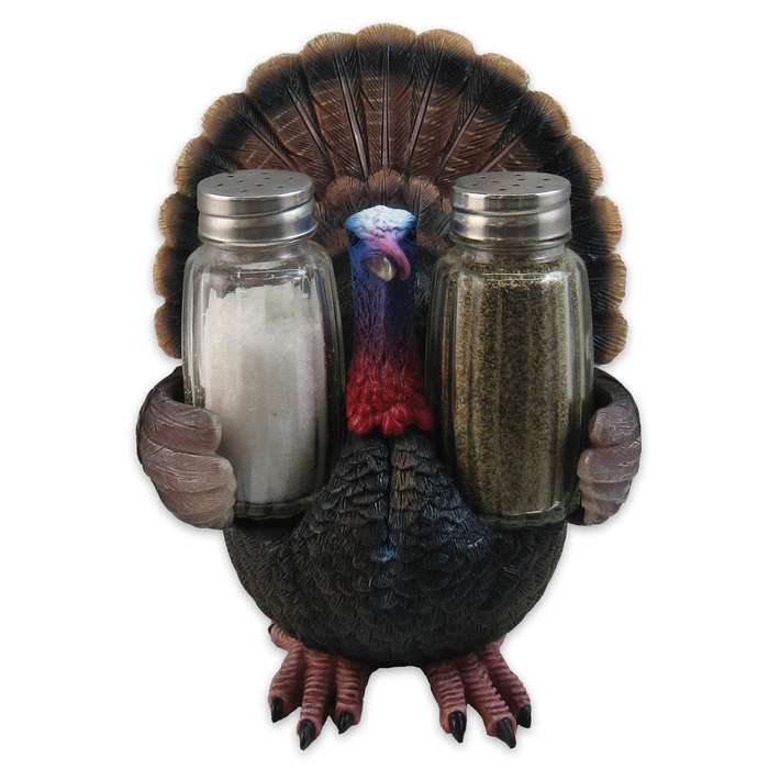 """Feast for All Seasons"" Turkey Sculpture / Salt and Pepper Shaker Holder"