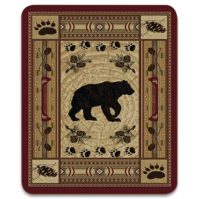 The Native Bear Patchwork Faux Fur Blanket makes a great addition to your cabin or hunting lodge