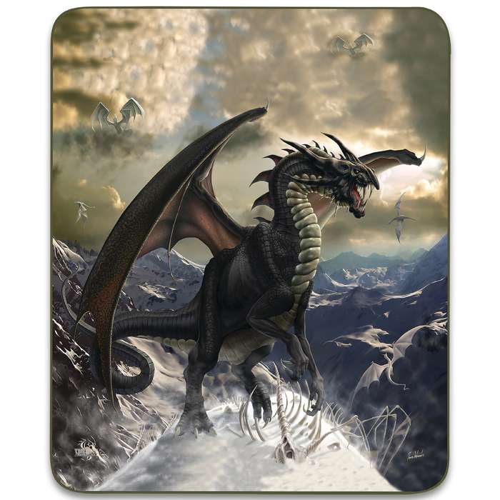 "Rogue Dragon Faux Fur Blanket - Plush Acrylic Material, Color-Saturated Vivid Artwork - Dimensions 70""x 90"""
