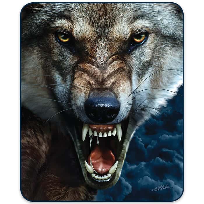 Wolf Portrait Faux Fur Blanket - Queen Size
