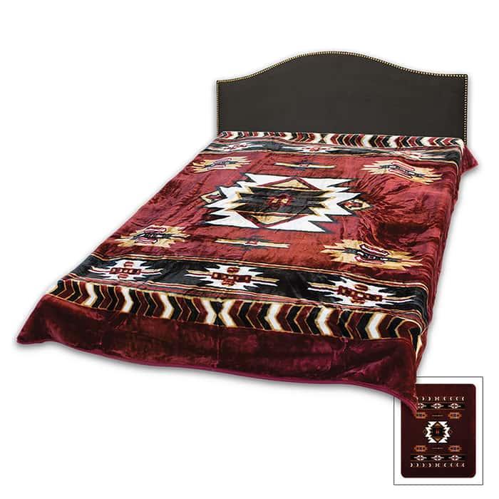 Aztec Acrylic Mink Blanket Queen Size