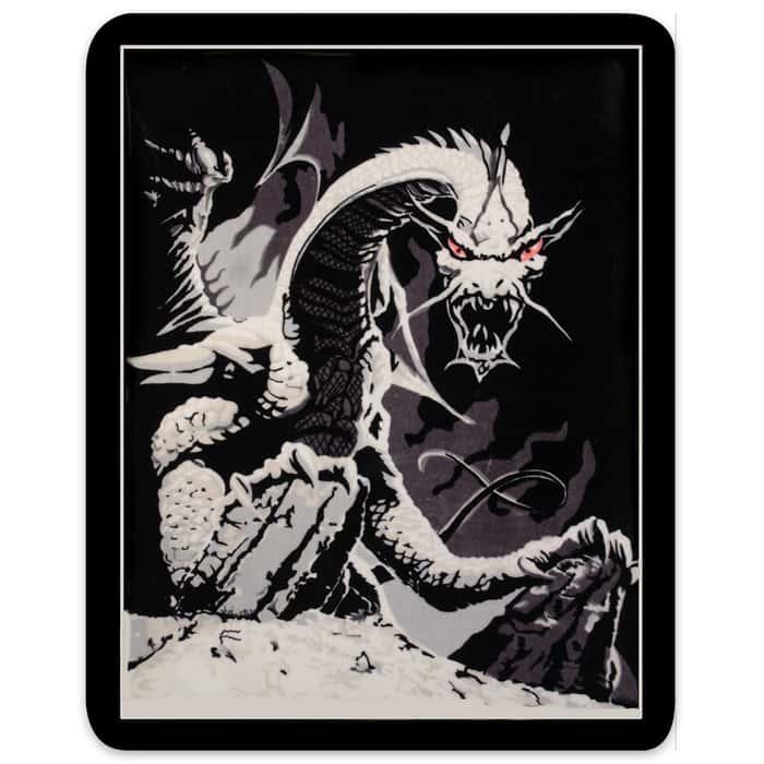 Black Dragon Faux Fur Blanket - Queen Size