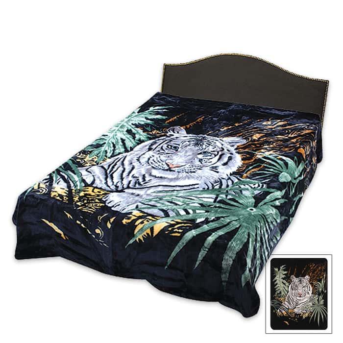 White Tiger Queen Size Blanket