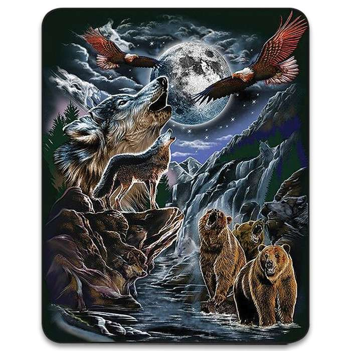 "Seven Hidden Wolves Faux Fur Blanket - Plush Acrylic Material, Color-Saturated Vivid Artwork - Dimensions 70""x 90"""