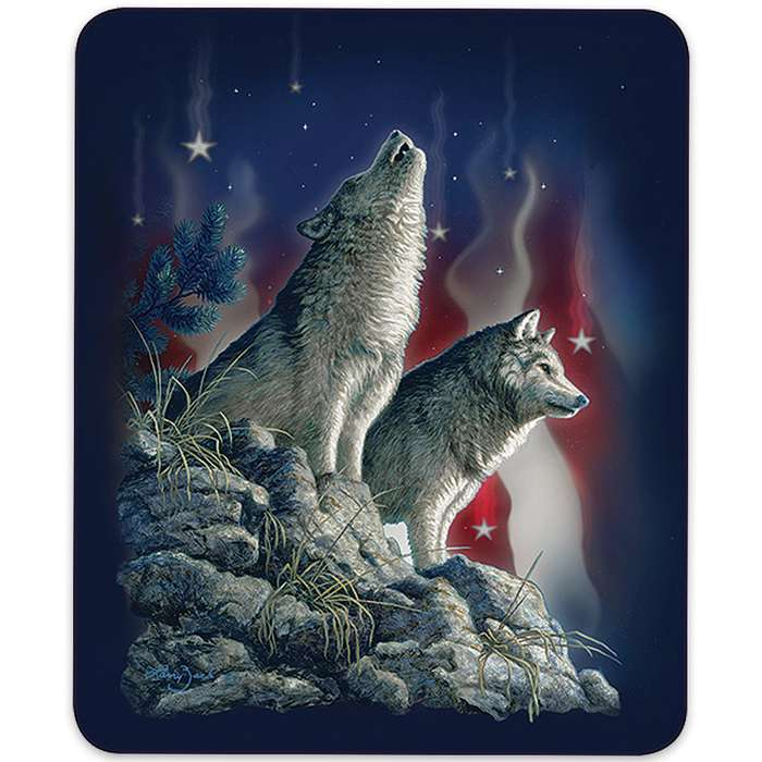 American Flag Wolves Pattern Queen Size Blanket