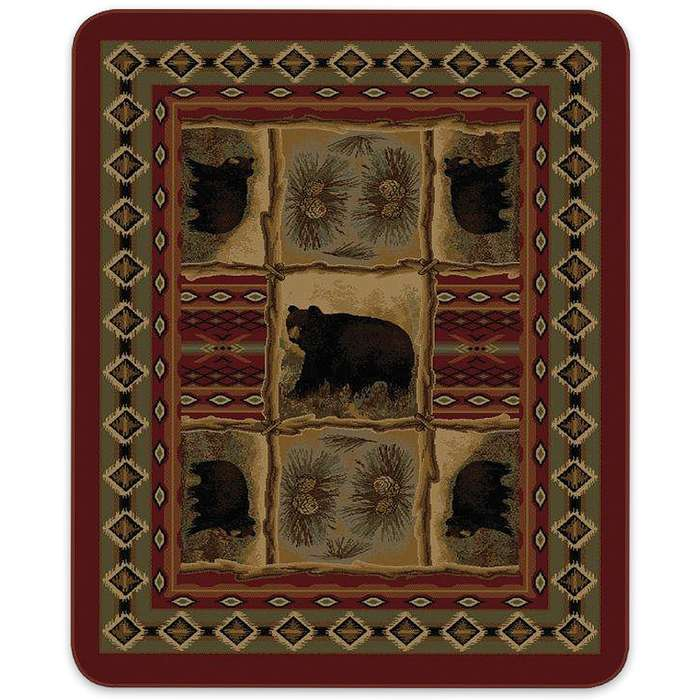 Bears Native Indian Pattern Queen Size Blanket