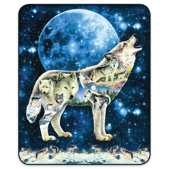 Arctic Wolf And Moon Faux Fur Blanket - Queen