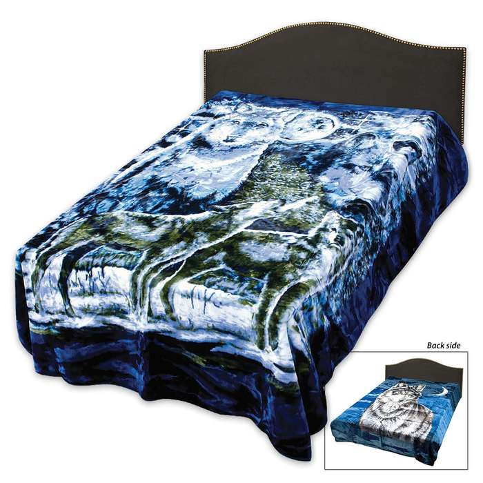 """Two Sided Faux Fur Wolf Themed Blanket - Oversize Queen - 79"""" x 96"""""""