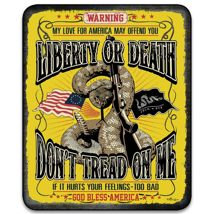 "Don't Tread On Me Liberty Or Death Faux Fur Blanket - Plus Acrylic Material, Color-Saturated Vivid Artwork - Dimensions 70""x 90"""