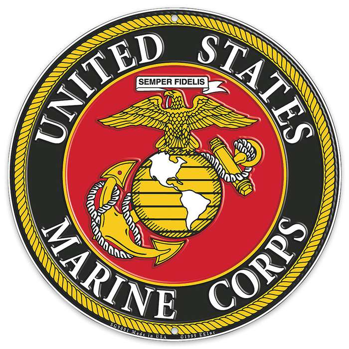 "US Marines Logo 12"" Round Aluminum Sign"