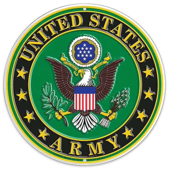 "US Army Logo 12"" Round Aluminum Sign"