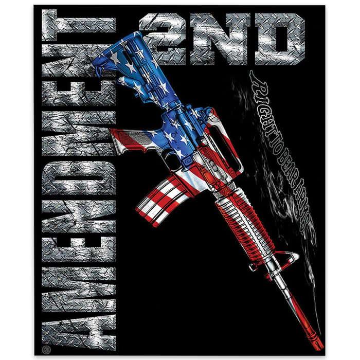 AR15 Second Amendment Flag Fleece Blanket - 50x60