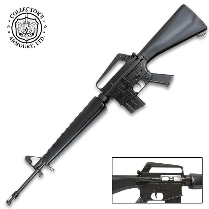 This is a museum-quality historical reproduction of the iconic M16A1 rifle that has an incredibly realistic look and feel