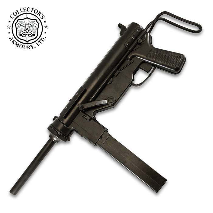 "This Grease Gun Replica is an accurate reproduction of the M3 automatic submachine gun and is 23 1/4"" when fully extended"