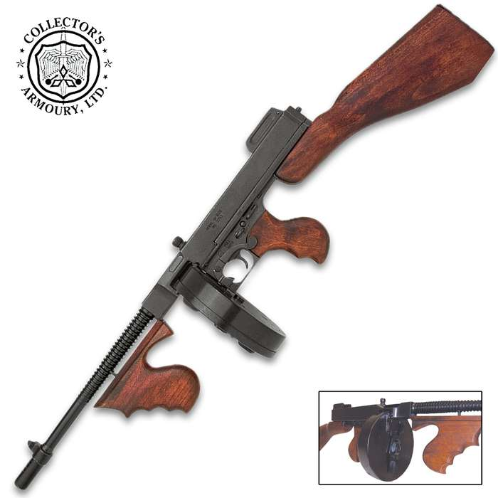 A museum-quality, historical reproduction of the Thompson submachine gun made famous by the Prohibition-Era gangsters