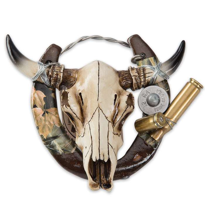 Cow Skull Horseshoe Decoration