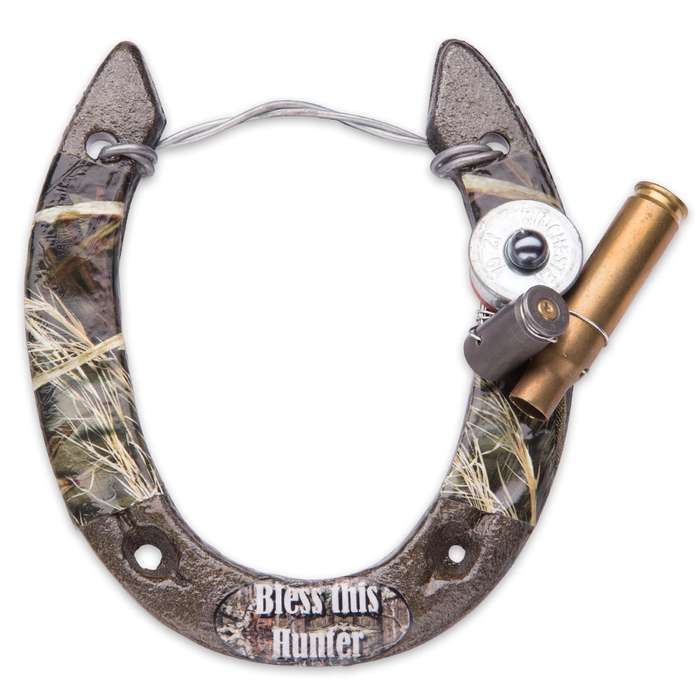 Bless This Hunter Horseshoe Decoration - Green Camouflage