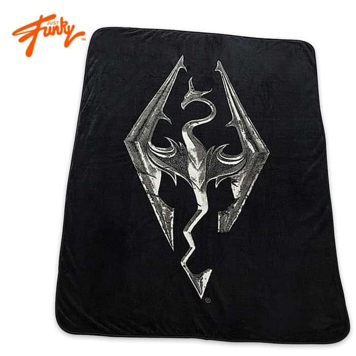 "Just Funky Skyrim 45""x 60"" Dragon Emblem Black Fleece Blanket"