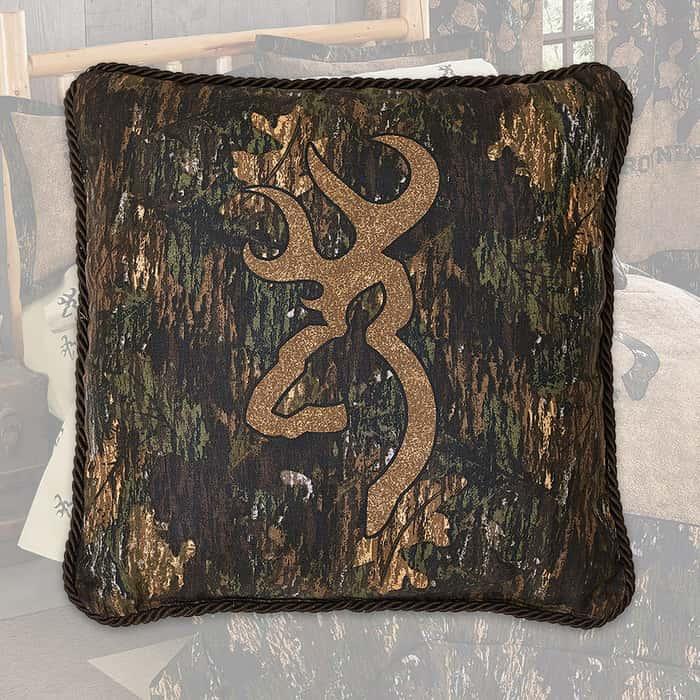 Browning 3D Buckmark Camo Square Pillow