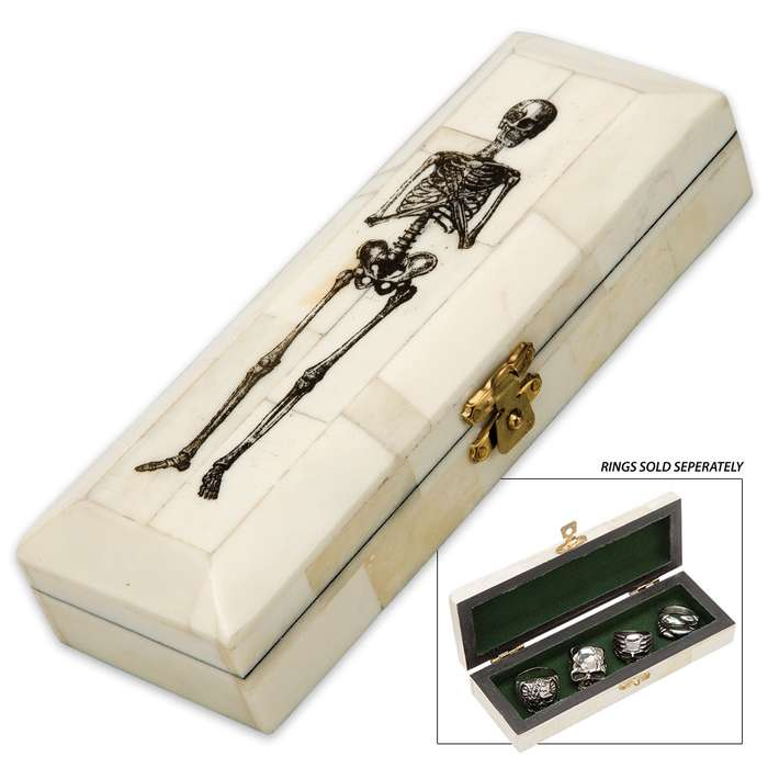 Genuine Polished Bone Mini Coffin with Skeleton Etching - Holds Jewelry, Small Items