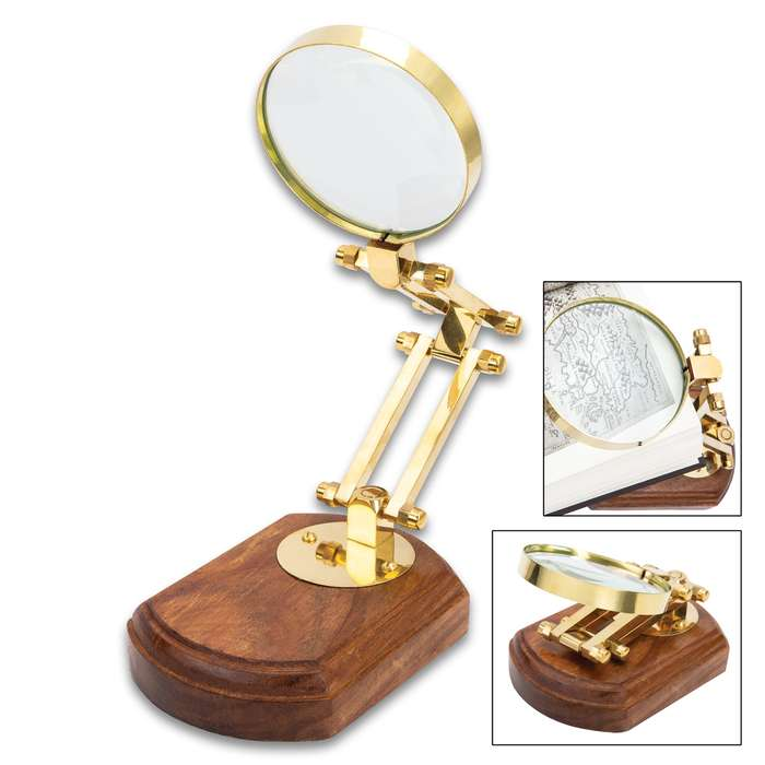 """Brass Magnifier On Wooden Base - 3"""" Diameter Lens, Adjustable 4 3/4"""" Stand, Great Gift Idea"""