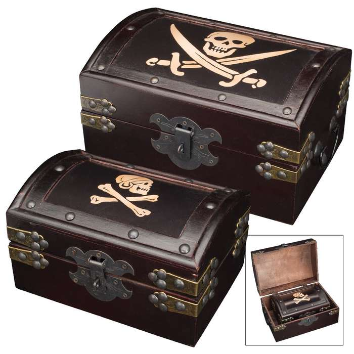 Rustic Wooden Pirate Treasure Chest / Trunk Twin Set - One Large, One Small