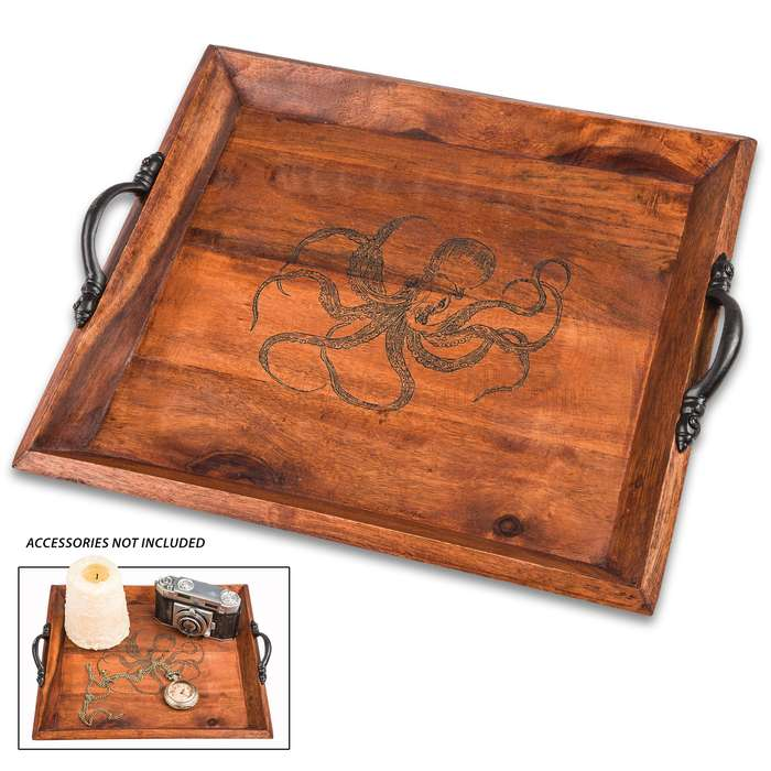 "Octopus Wooden Tray - Antique Look, Black Metal Handles, Burned Design, Dimensions 10 3/4"" X 11 3/4"""