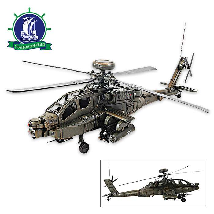 1976 Boeing AH-64 Apache Attack Helicopter | Handcrafted Model US Army Helicopter | 1:24 Scale