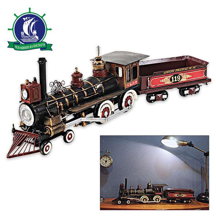 1868 Union Pacific 4-4-0 No. 119 Steam Locomotive and Wagon | Handcrafted Model Train | 1:24 Scale