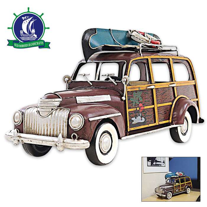 1947 Chevrolet Suburban with Canoe on Roof Rack | Handcrafted Metal Model