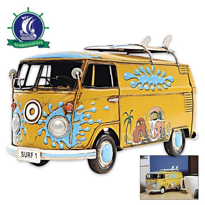 1967 Volkswagen Bus with Surfboards | Handcrafted Metal Model | 1:18 Scale